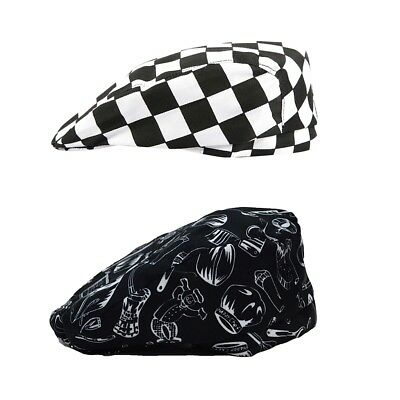 2 Pieces Catering Kitchen Cook Baker Waiter Cap Hat Chef Beret Hat Skull Cap