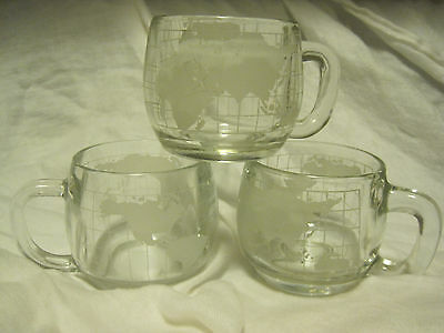 Nestle Nescafe Clear&Etched Frosted Glass Around the World LOT OF 5 Coffee Mugs