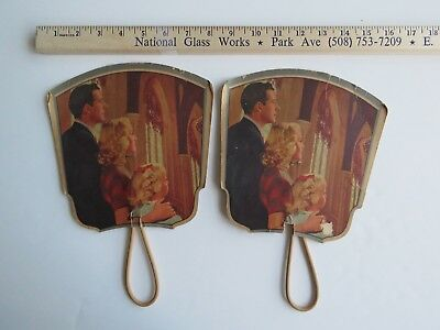 2 Antique Huge Paper Hand Fans Lot George Timm & Co. Advertising #2335