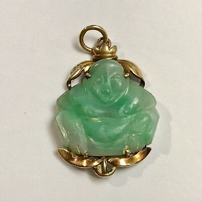 Antique Chinese 14K Gold Hand Carved Jade Buddha Pendant From 1930S. Beautiful.