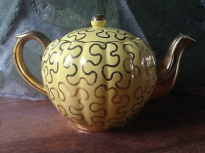 Antique Vintage State Gibsons England Hand Numbered Yellow & Gold Gilt Teapot
