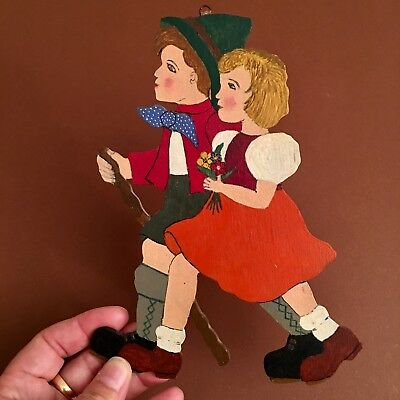 1940er Wanderer-Pärchen Vintage Holz Deko Wand Deutsch #germanwallfigures