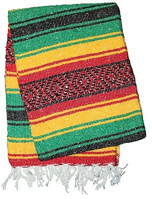 LITE MEXICAN BLANKET - RASTA - 2' x 6' Perfect for Yoga or Pilates - Lightweight