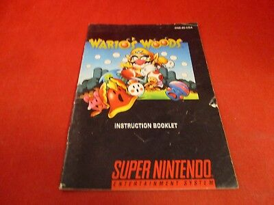 Wario's Woods Super Nintendo SNES Instruction Manual Booklet ONLY #D1