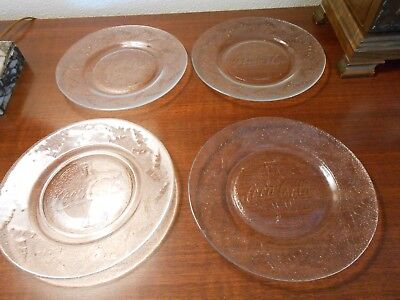 COCA COLA LOGO COKE CLEAR SALAD PLATES with Embossed Bottle  SALAD Plates
