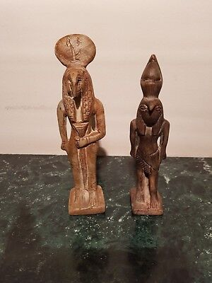 Rare Antique Ancient Egyptian 2 statues God Toth &Horus God knowledge1740-1650BC