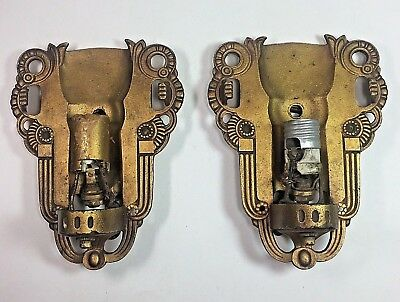 Antique Pair of Art Deco Wall Sconces by Lightolier Lighting Gilt Iron