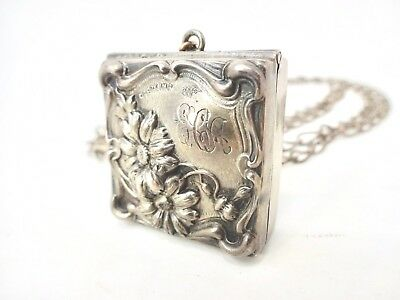 Antique George WEBSTER Art Nouveau Sterling Silver Chatelaine Stamp Box w/ Chain