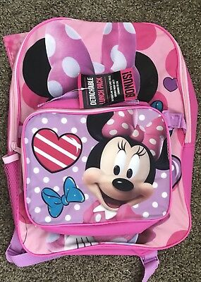 """Minnie Mouse Disney Pink 16"""" Backpack with Lunch Bag/Kit NEW"""