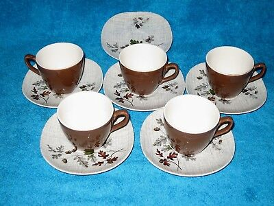 J & G Meakin Sol  Boscobel 5 X  Small Coffee Cups And Saucers  Vgc - Grace Shape