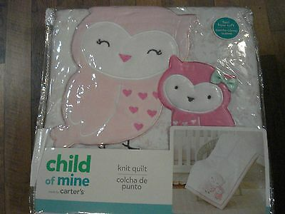 Carter's Child of Mine Girls Owls & Friends Knit Quilt NEW Comforter Bedding