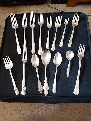 Antique Rogers Silver Plate Flatware Mixed Lot 15 Pieces Fork Spoon Fish Baby