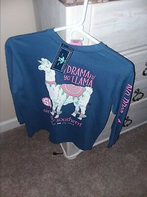 NWT  Simply Southern Long Sleeve T Shirt Girls Youth M Save the Drama Llama