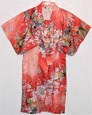 Happi Child's Kimono Coat Size Small Red Peach White Floral Made in Japan