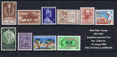 Australian Pre-Decimal Stamps 1961-62 Collection Simplified (10) Inc 5/-  MNH