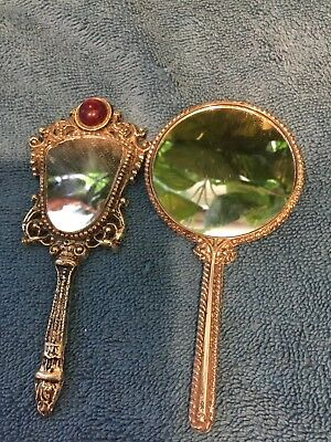 Lot Of 2 Miniature Hand Held Mirrors Sold As Is