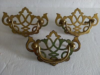3 Large Chippendale Pierced Brass Bail Batwing Pulls Vintage 5""