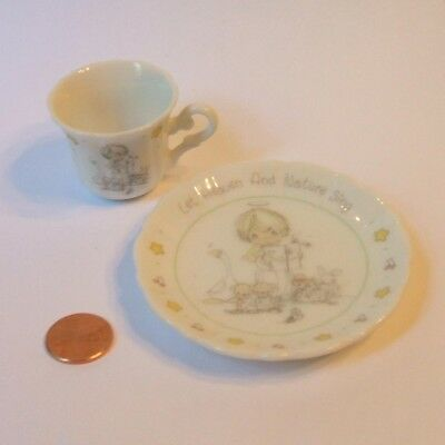 1990 Precious Moments Let Heaven and Nature Sing Mini Plate and Tea Cup