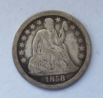 1858 O 90% silver U.S. seated liberty dime