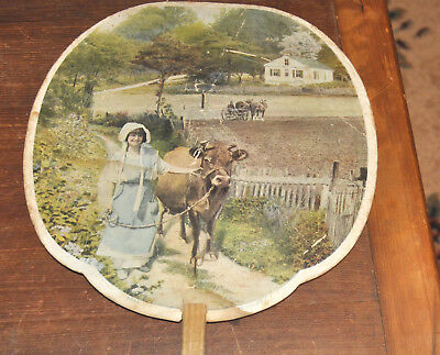 Cleona PA Advertising Fan (Lebanon County) Ezra Kreider General Store Milk Maid!