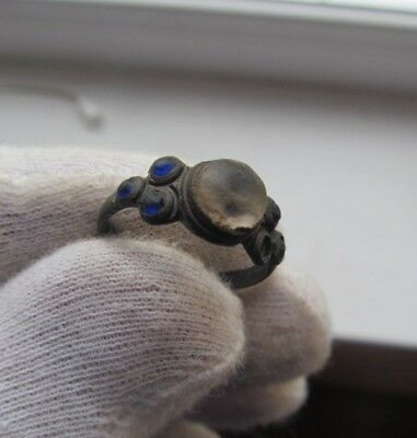 Ancient bronze ring with stone № 399/11.