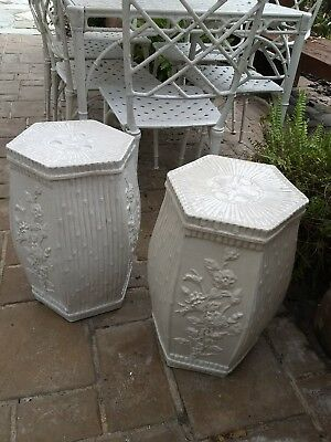 """A Pair of Chinese Garden Stools w/ Bamboo Motif in Crackle Glaze White 19.25"""""""
