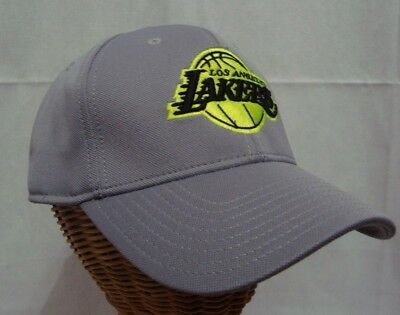 Los Angeles Lakers Gray with Neon Yellow Logo Adjustable Cap Hat by adidas d7f9e498184f