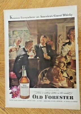 Old Forester Kentucky Bourbon Whiskey Magazine Ad, Gentlemen's Club, 1953, #2041