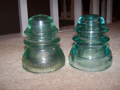 "2 Vintage Whitall Tatum No. 1 Glass Insulators Blue Green 4"" Made in USA"