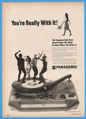1966 Panasonic Solid State Record Player Vinyl Dance Party 60's Fashion Ad