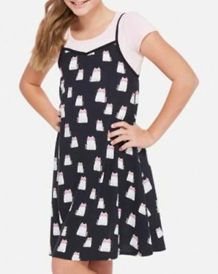 NWT Justice Girls Size 8 10 Floral Print Tie-Back Cami Slip Dress Over Tee Shirt