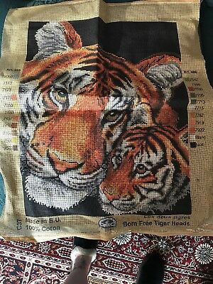 Tiger Heads Tapestry Canvas Used