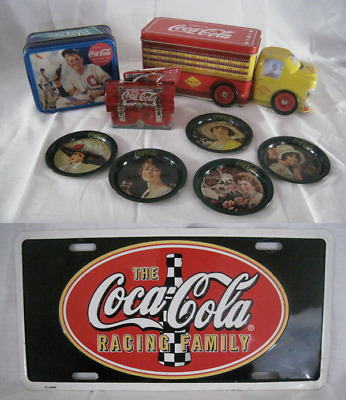 Lot of 9 Coca-Cola Merchandise Tin Advertising Coasters Ornament License Plate