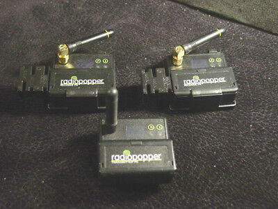 Lot of two 2 RadioPopper Receiver PX + 1 Transmitter PX modules with antennas