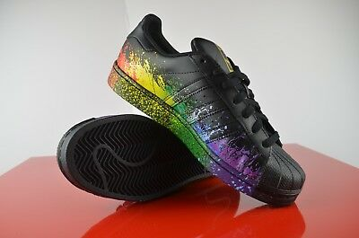 2c82dd47d40c ADIDAS ORIGINALS SUPERSTAR PRIDE PACK LGBT PAINT SPLATTER BB1687 Rainbow sz  8