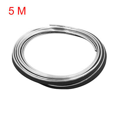 5m Silver Tone Chrome Car Door Edge Scratch Guard Moulding Decorative Trim Strip
