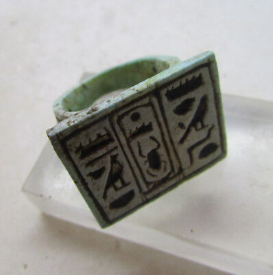 Undated Egyptian Seal Ring With Heiroglyphics On Bezel