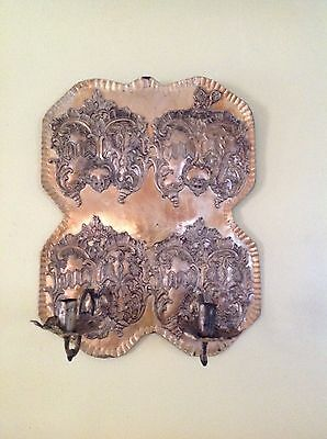"Antique Art Noveau Wall Metal Brass 2 Candle Holder Sconce Circa 1800 ""rare"""