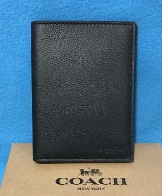 NEW Coach Calf Leather Passport Case Wallet F93604 in Black $125
