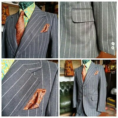 Vintage 1970's 70s Wool Mobster Gangster Mafia Dandy Flared Pinstripe Suit.Small