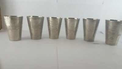 Antique CUP'S silver Egyptian Embossed on them Mosque And flowers very rare