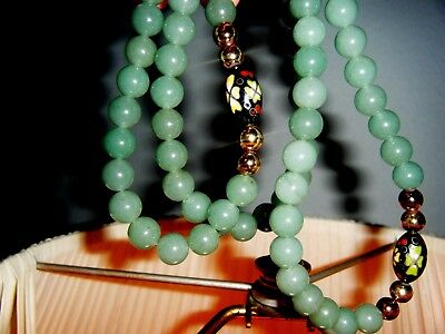 Vintage Chinese Green Jade And Cloisonne Beaded Necklace