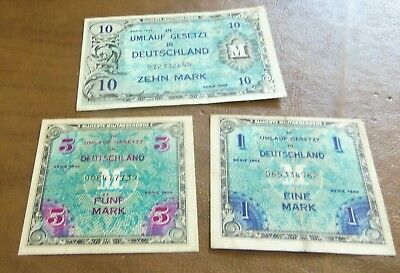 WWII Series 1944 German Military Pmt Currency Bank Note Lot Eine 1 5 & 10 Marks