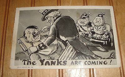 """Vintage Used 1944 """"The Yanks Are Coming!"""" Uncle Sam Pull Hitler's Teeth Postcard"""