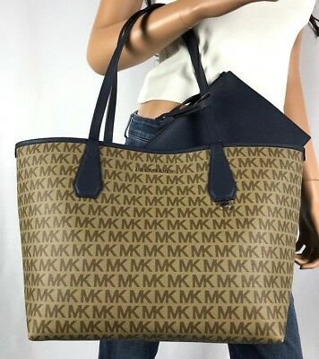 9c83ec81d5a129 Nwt Michael Kors Candy Signature Large Reversible Tote Bag Brown Navy Blue