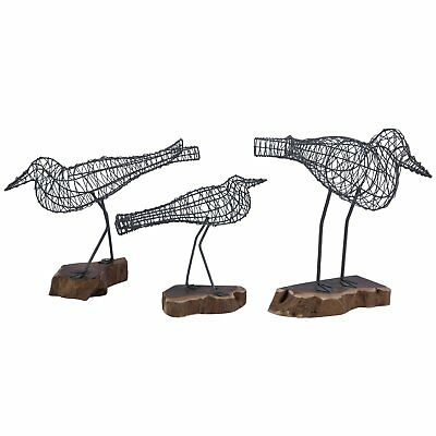 Set of 3 Wire Bird Sculptures on Natural Wood Stand Coastal Home Decor SM Med LG