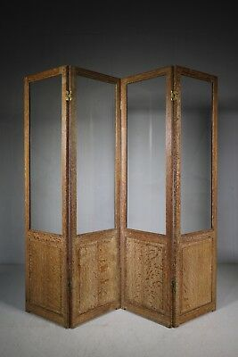 Superb Quality 1920's Heals Oak Four Fold Screen.