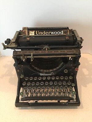 Antique Vintage Underwood Standard Typewriter No. 5 # 1141115-5 1918 Glass Keys