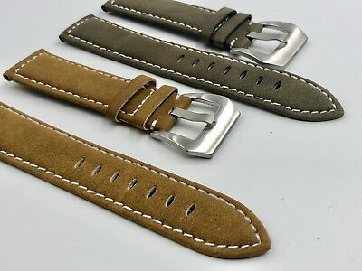 5b9bc4e5421 02 Straps (2) Bands 18mm Suede Leather Watch Strap Olive Green Tan Fast  Shipping