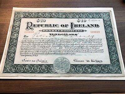 1920 Ireland $10 Bond Certificate